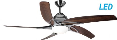 "Fantasia Viper 44"" Stainless Steel with Dark Oak Blades Ceiling Fan + Remote +  LED Light 115649"